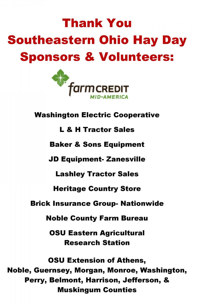 Thank You SE OH Hay Day Sponsors!