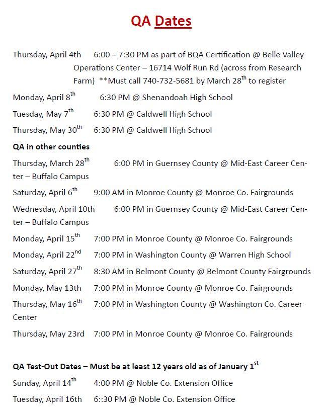QA Area Dates